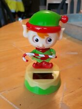 New Solar Powered Dancing Bobblehead Christmas Elf Toy