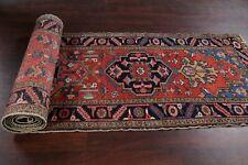 Antique Vegetable Dye Geometric 17 ft Long Runner Heriz Serapi Tribal Rug 3'x17'