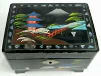 Vintage Japanese Music Trinket Jewelry Box Black Lacquer Hand Painted Works
