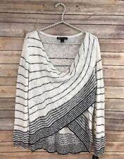 NWT INC XL Womens White & Navy Striped Sweater