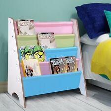 Wood Kids Book Shelf Sling Storage Rack Organizer Bookcase Display Holder White