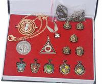 Harry Potter Golden Snitch Time Turner Hogwarts Ring Pendant Keychain SET in Box