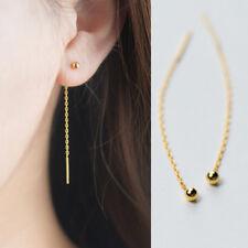 Damen Ohrringe Durchzieher Kugel echt Sterling Silber 925 Farbe Gold Ohrhänger