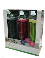 "3x Contigo ""ASHLAND"" Water Bottle Drink Bottles AUTOSPOUT® With Straw 24oz New"