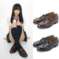 Women Japanese School Student Uniform Soft Leather Flat Low Heel Shoes Cosplay