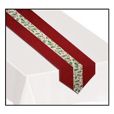 CHRISTMAS Holly Fabric Velvet 6' Table Runner Center Drape Party Decoration