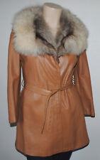 Women's Vintage 1970's Leather & Fur Camel Tone Coat Plus Sz 16 18 XL MINT!