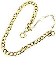 solid 9ct yellow gold curb bracelets solid smooth links, safety chain, bolt ring