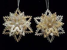"""KSA """"GOLD/SILVER GLITTER SNOWFLAKE BURST"""" Ornament Set ~ Set of 2 ~ Pretty!!"""