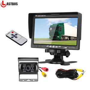 """7"""" Car Rear View LCD Monitor IR Reversing Backup Camera Night Vision Kit For RV"""