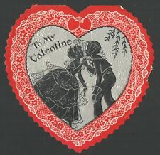 Vintage Valentine's Day Card Silhouette Dressed up Kids / Couple Ready to Kiss