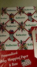 Personalized gift wrap wrapping Christmas xmas NIP Katherine stockings 2 Sheets
