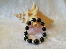 Shungite Bracelet (d-10mm) on elastic with Silver Metal Beads