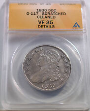 1830 Bust Half Dollar O-117 Scratched Cleaned Graded VF 35 Details by ANACS