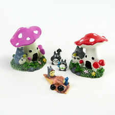 Miniature Toadstool Houses + Critters Fairy Garden Set Mowbray Miniatures (5pcs)