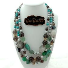 20'' 3 Rows Gray Pearl Turquoise Smoky Quartz Fluorite Necklace