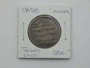 1858 Canada Silver 20 Cent Coin
