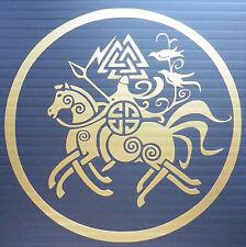 """Odin en Sleipnir"" Dioses Mitos Magia stickers/car/van / window/decal 5150 Oro"