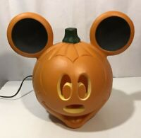 "Disney Mickey Mouse Blow Mold Light Up Halloween Pumpkin Jack o Lantern 12"" Cute"