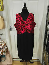 Size 16 Occasional Dress by Collection London in Red/Black V-Neck Fitted Wear