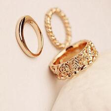 Women Girls Delicate Rose Golden Flower Knuckle Finger Ring 3Pcs/Set Jewelry DIY