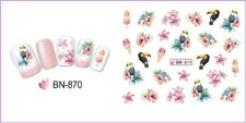 Nail Art Water Decals Transfers Stickers Summer Palm Trees Floral Birds BN870