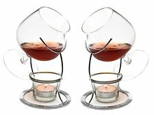 More details for large brandy and cognac snifter warmer glass gift set 2x 400ml crystal glasses