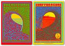 The Next Wave & Surf For A Cure POSTERS Set of Two John Van Hamersveld Signed