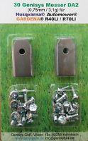 30x Klingen Messer Stahl 0,75mm + Schrauben für Gardena R38Li, R40Li, R45Li