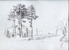 DESSIN ORIGINAL HERMANN PAUL ROUTE MAISON SAPINS