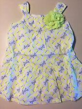NWT Gymboree Girls Butterfly Fields 2 Piece Neon Yellow Butterfly Dress 12-18M