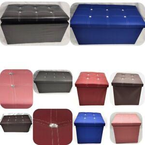storage box Foldable ottoman heavy duty faux leather Pouffe foot stool toy box