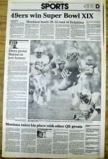 2 1985 newspapers SAN FRANCISCO 49ers defeat MIAMI DOLPHINS in SUPER BOWL XIX