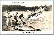 NANAIMO B.C. CANADA FISHING EXAGGERATED ANTIQUE REAL PHOTO POSTCARD RPPC