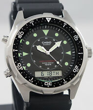Casio AMW320R-1EV DIVER Watch 100M WR Chronograph Black Sports Dial Alarm New