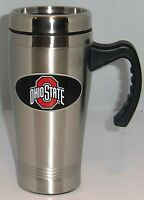 Ohio State Buckeyes 14 oz Stainless Steel Travel Mug with Handle NCAA Licensed