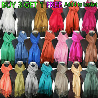 NEW Women Soft PASHMINA SILK Classic Solid Cashmere Wool SHAWL Scarf Stole WRAP~
