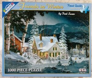 White Mountain FRIENDS IN WINTER #470 Jigsaw Puzzle 1000pc 24x30 2015 Fred Swan