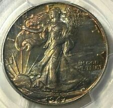 1947 PCGS MS66 GOLD SHLD Silver Walking Liberty Half Dollar 50c ~ Monster Toned