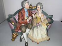Vintage Royal Crown Porcelain Bisque Figurine Empire Man and Woman DRESDEN Lace