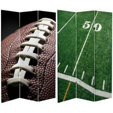 Football Themed Room Divider Wall Double Sided 6 ft. 3-Panel Decor Furniture