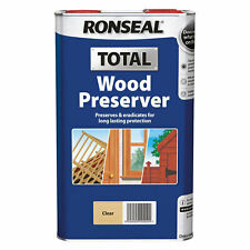 Ronseal Total Clear Wood Preserver - Clear 5 Litre - Prevents Rot Kills Woodworm