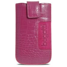 Etui Pouch SlimCase Croco Cuir Véritable Rose Taille M 73x122mm