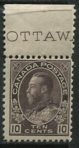 Canada 1912 KGV 10 cents plum Admiral mint o.g. hinged