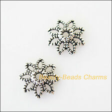 30Pcs Tibetan Silver Tone Sun Flower End Bead Caps Connectors 10mm