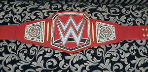 Universal Championship Wrestling Belt Red Leather Replica Metal Plates Adult