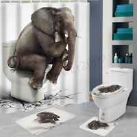 180x180cm Elephant Bathroom Shower Curtain Waterproof + 12 Hooks Toliet Mat
