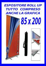 ESPOSITORE ROLL UP 85X200 COMPRESO STAMPA COMPRESO GRAFICA E BORSA