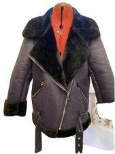 BNWT Navy And Black Faux Fur & Shearling Aviator Jacket