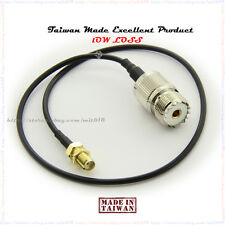 "SMA Female to SO239 Adapter + RG-174U pigtail Coaxial Cable 15"" SMA Female to SO"